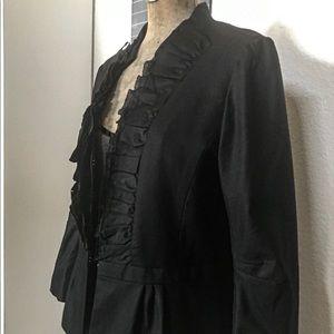 Ann Taylor Loft Black Ruffle Jacket